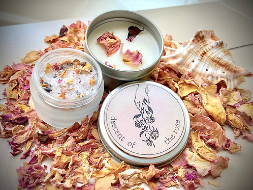 Soy Candle, Bath Salt & Rose Petal Bundle