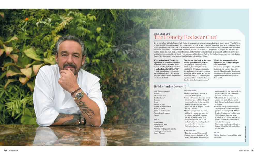inDoral Magazine, November 2018 Issue, Chef Gilles Epie