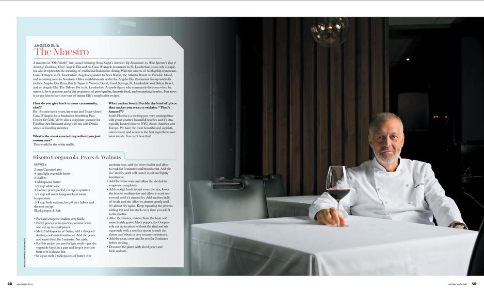 inWeston Magazine, November 2018 Issue, Chef Angelo Elia