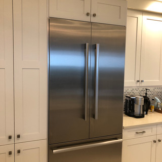 Polished stainless steel fridge