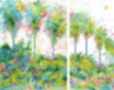 Celebrating Palms Canvas/Paper Reproduction by Artist Tara Funk Grim -