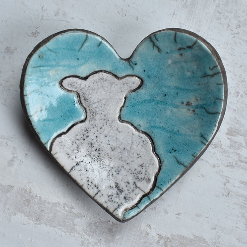 Ceramic Heart with sheep