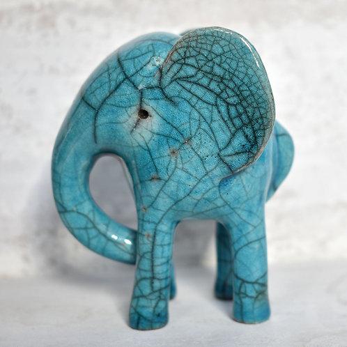 Raku Fired Ceramic Elephant