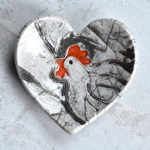 Ceramic Heart with chicken