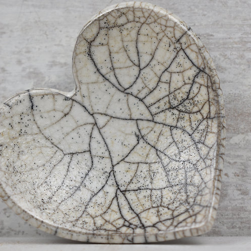 White Crackle Ceramic Heart
