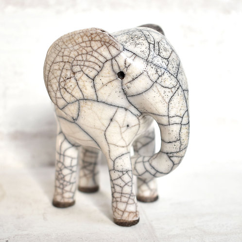 Raku Fired Ceramic Elephant