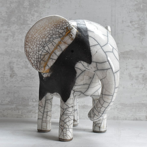 Raku Fired Ceramic Elephant with Kintsugi
