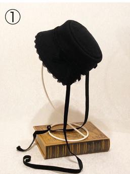 ①サント アン ノワールの祈りのボンネット(ブラック)