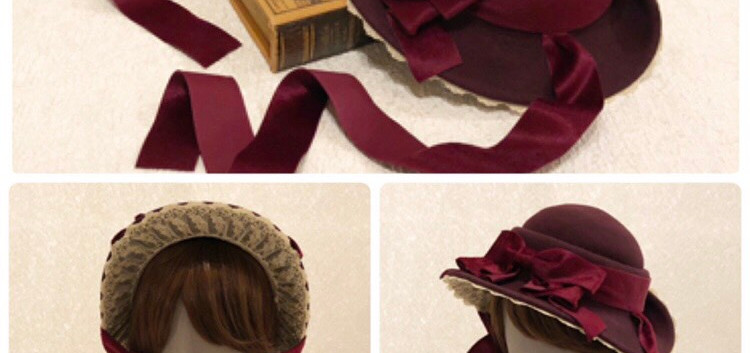 2:プーペ クラスィックのドレスハット(アンティークボルドー)