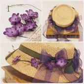 1.菫のガーランドのドレスハット