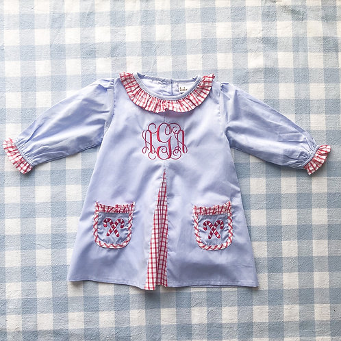 Candy Cane Embroidered Pocket Dress