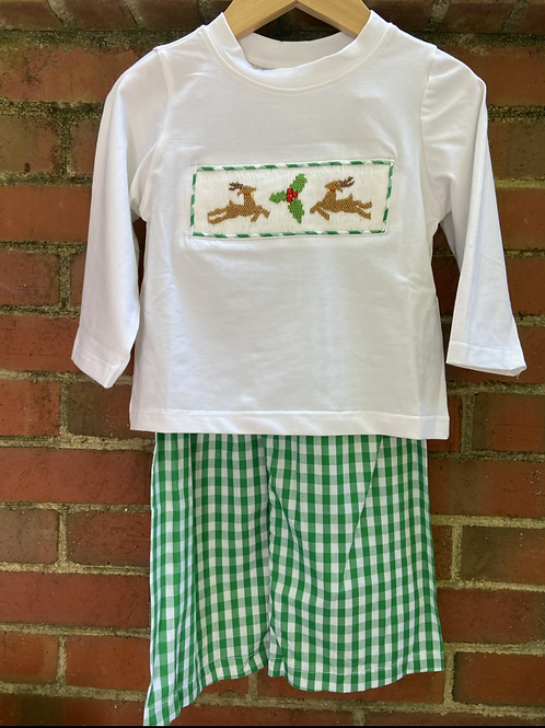 Reindeer and Holly Hand Smocked Set