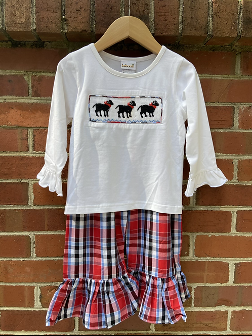 Girl Labrador Dog Smocked Set