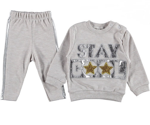 "BABY BOYS GREY COTTON "" STAY COOL "" SOFT & COMFY TRACKSUIT"