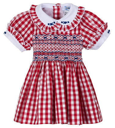 "AURORA ROYAL "" LOTTIE "" FRONT AND BACK HAND-SMOCKED CHECK DRESS"