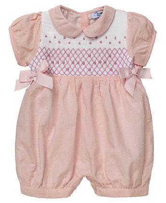 "Aurora Royal Baby Girl "" Bon-Bon"" Peach Pink Hand-Smocked Shortie.LIMITED  Auror"