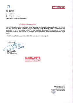 Hilti Applicator Certificate