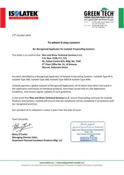 Isolotek Applicator Certificate