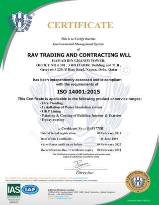 GRP Lining Contractor ISO Certificate