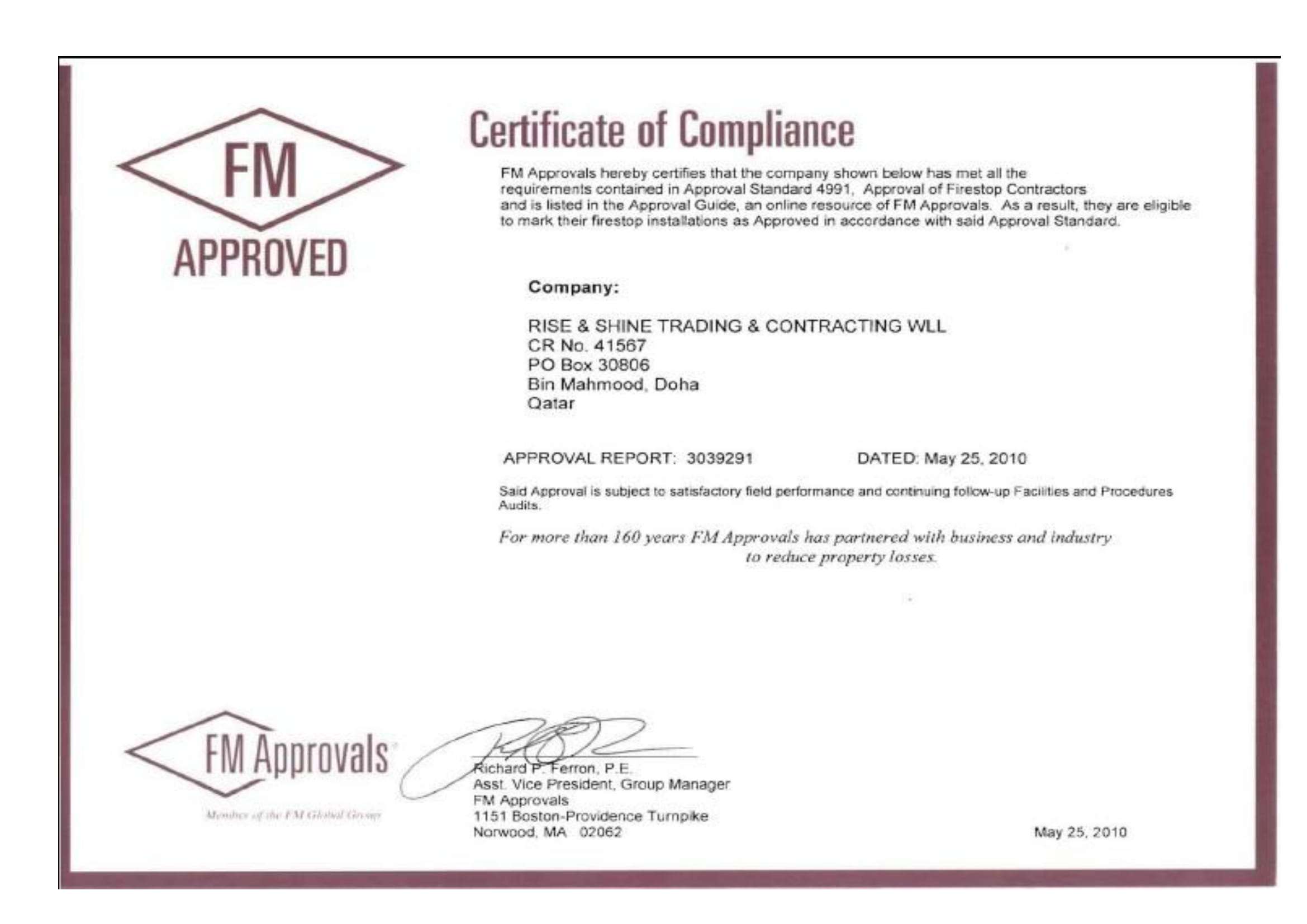FM Approved Firestop Contractor