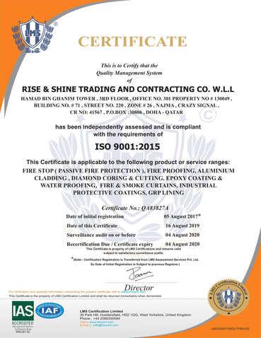 Firestop Contractor ISO Certificate