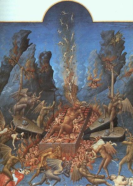 Fratelli Limbourg, La graticola infernale, miniatura da Les Très Riches Heures du duc de Berry, 1416 circa