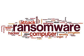 picture with ransomware, computer, attack text information
