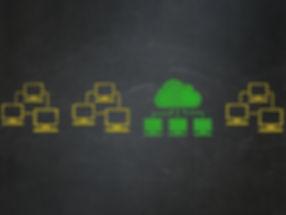 Cloud technology drwaing on blackboard