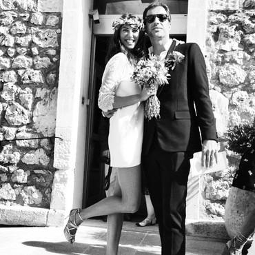 Robe de mariée bohème en dentelle de calais et en soie satiné à Cannes