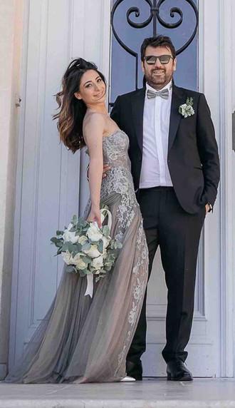 Robe de mariée Victoire bustier en dentelle de Calais et de tulle de soie à Marseille