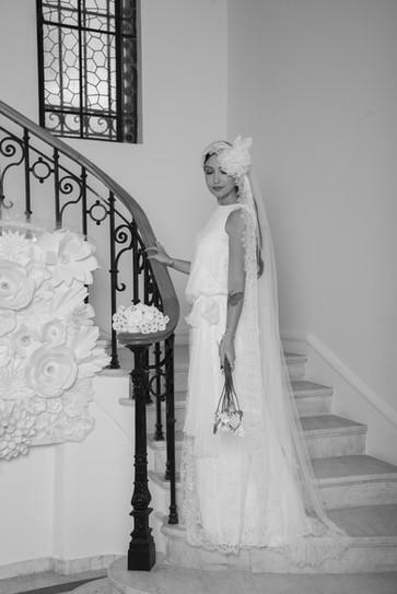 Robe de mariée style années 20 sur mesure portée par l'égérie Georgia Horackova