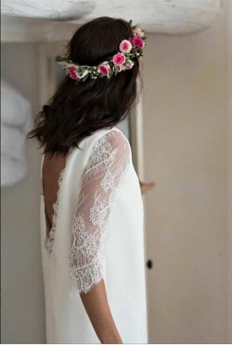 Robe de mariée champêtre en dentelle de calais à Cannes