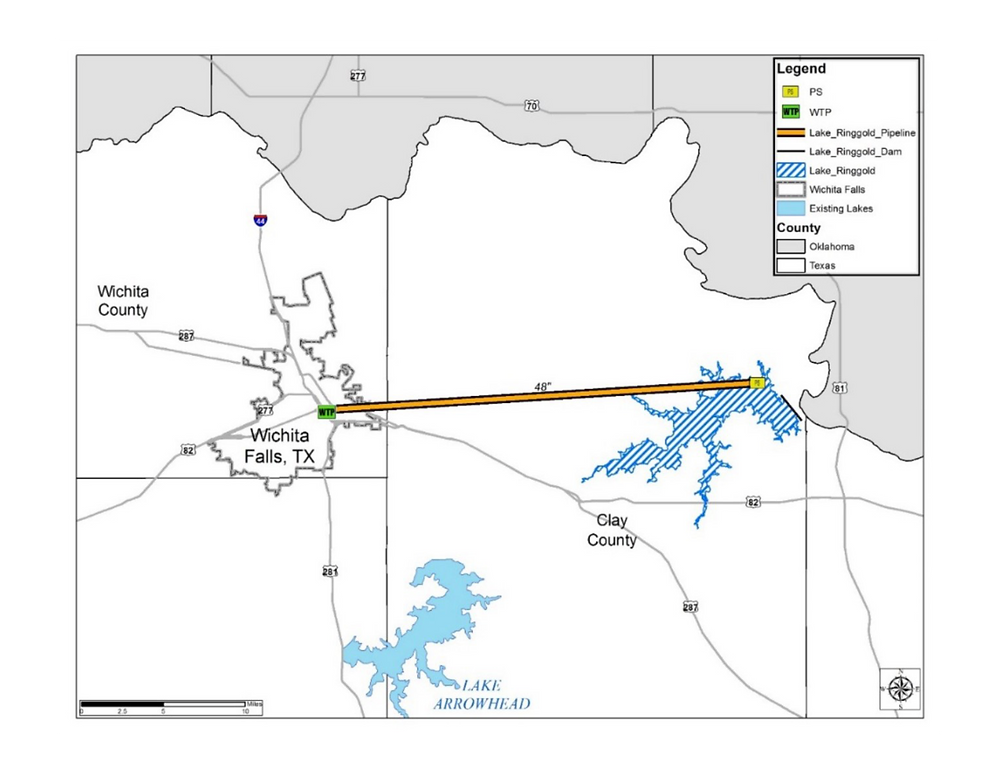 A map showing the proposed lake ringgold location and the long pipeline connecting it to City of Wichita Falls.