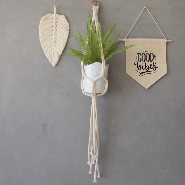 suporte para planta macramê