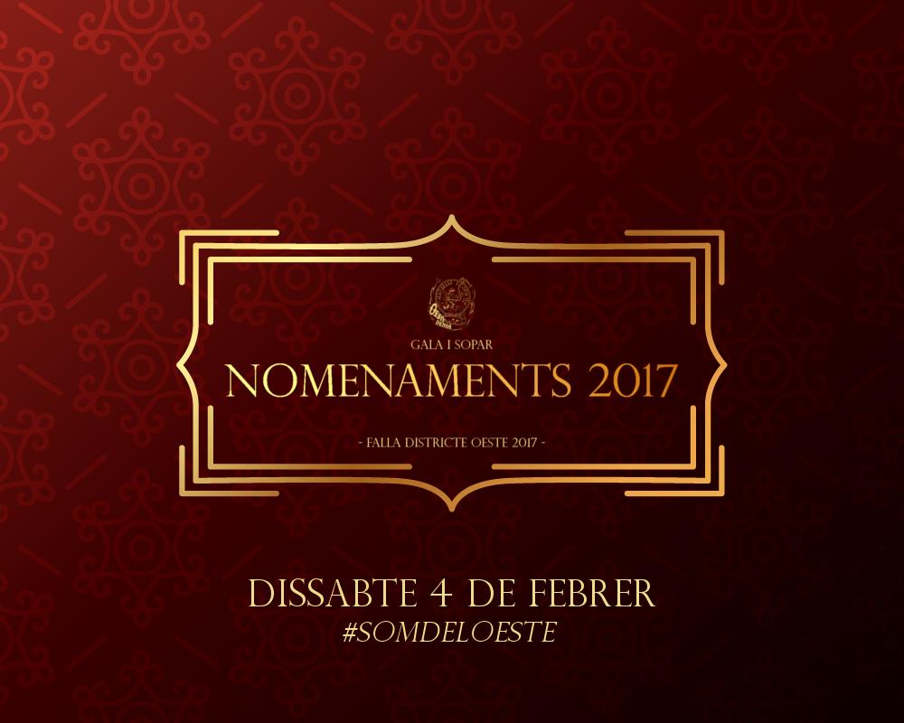 Gala i Sopar de Nomenaments Falla Oeste 2017