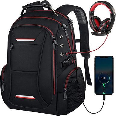Mochila con varios compartimentos puerto USB y auriculares