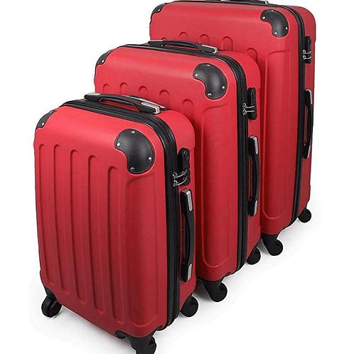 Juego De 3 Maletas De Viaje Rojo Para Ir De Vacaciones Parairdevacaciones.com