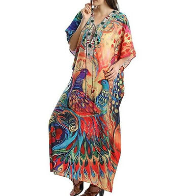 Vestido de playa talla grande unica bohemio estampado floral