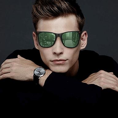 Gafas De Sol Polarizadas Clasicas Negras Con Lentes De Colores y De Espejo