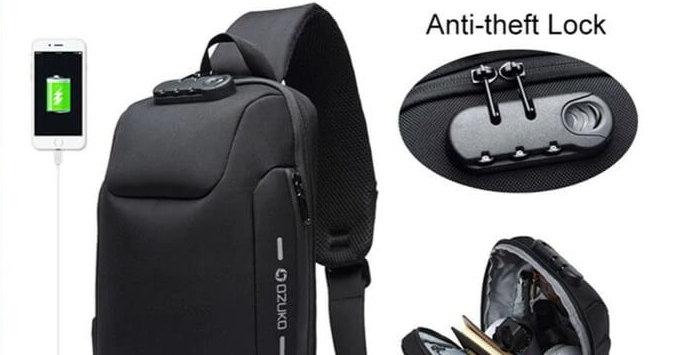 Parairdevacaciones_Mochila pechera antirrobo USB un solo hombro porta notebook impermeable hombres