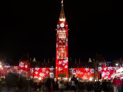 Torre de paz,Ottawa, Canada durante las navidades