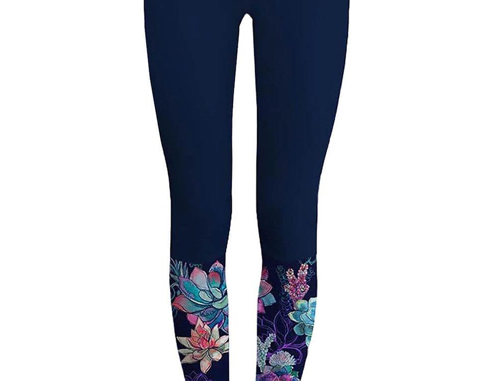 DM_Navy_Floral_printed_fashion_sports_leggings_yoga_pants