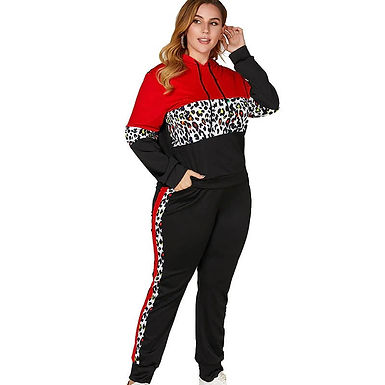 Chandal Mujer Tallas Grandes Con Capucha De Leopardo Rojo y Negro