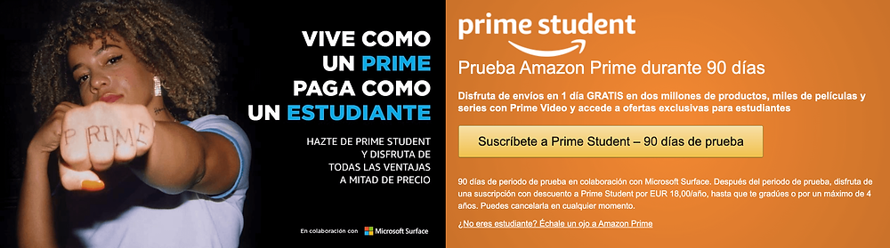 Promociones de amazon prime video para estudiante en Parairdevacaciones