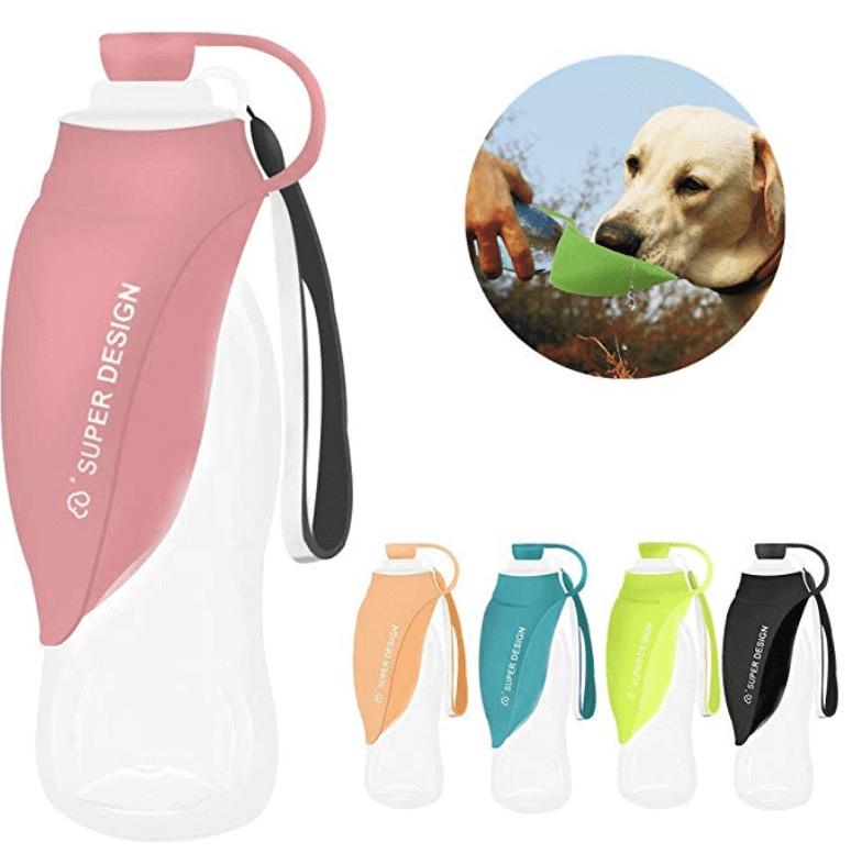 Botella dispensadora de agua para viajar con mascotas