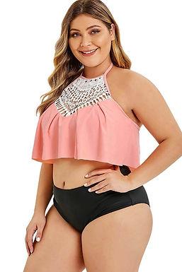 Bikinis con volantes tallas grandes, bikinis dos piezas con detalles bonitos