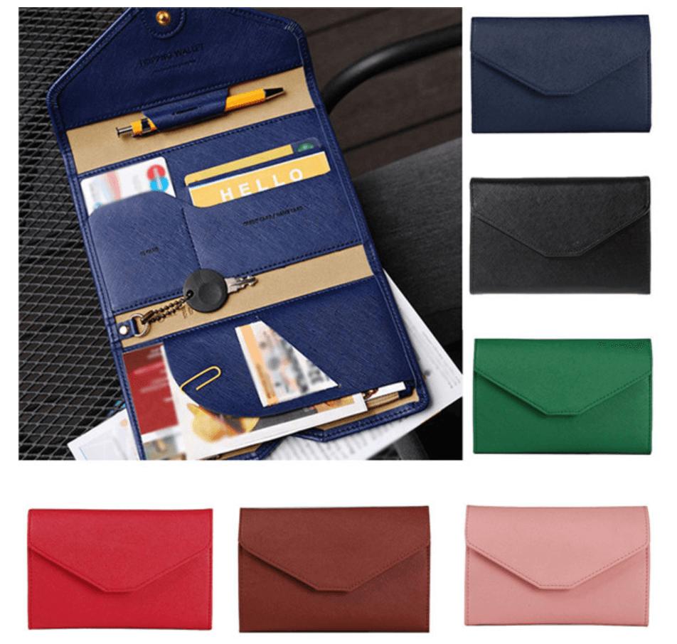 Porta pasaporte y billetera para viajar en avion