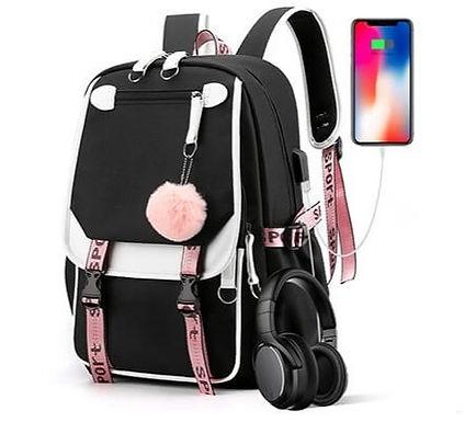 Mochilas Con Muchos Bolsillos Puerto USB Auriculares Para Mujer