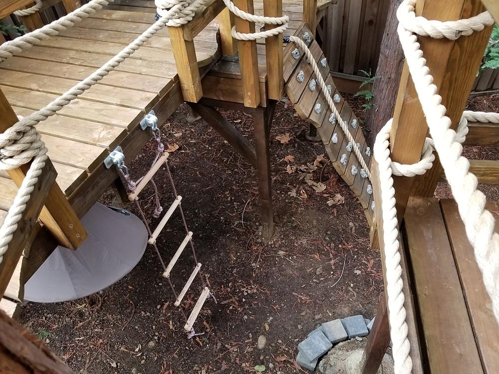 treehouse slides, rope climbs, bridges, fireman's pole, cargo climbs, rock climbing walls, ziplines