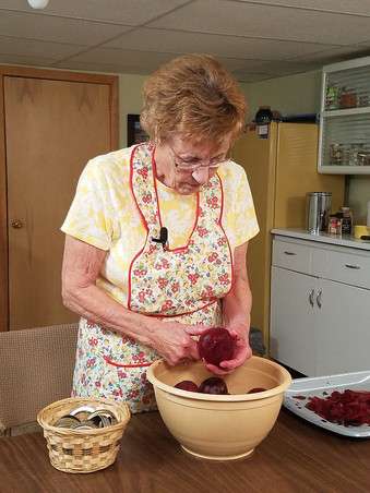 LaVerna Kasemen preparing canned beets